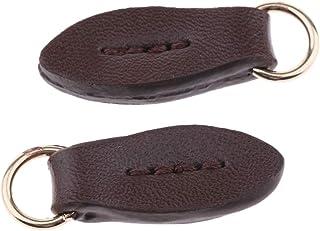 F Fityle 2er Pack Leder Reißverschlusszipper Zipper Pull Reißverschluss Anhänger Reißverschlussanhänger für Tasche Kleier Rucksack