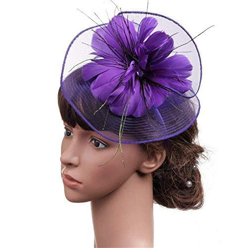 Nunca te rindas Vintage Elegante para Mujer cóctel Fiesta del té Sombrero de Plumas Pinza de Pelo Headwear Flor para el Partido Nupcial Boda día de Las señoras (Color : Púrpura)