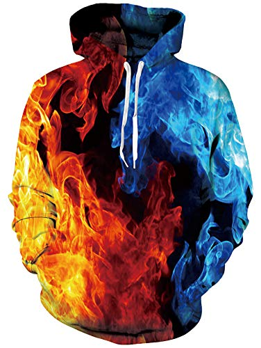 3D Feuer Hoodies Teen Jungen Mädchen Kühlen Feuer Rauch Realistisch Gedruckt Pullover Mit Kapuze Langarm Gym Sport Sweatshirt Rot Blau S
