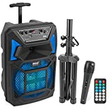 Pyle Bluetooth PA Speaker & Microphone System - Portable Karaoke Speaker with Wired Mic, Built-in LED Party Lights, FM Radio, MP3/USB/Micro SD Readers, Speaker Stand (8'' Subwoofer, 400 Watt MAX)
