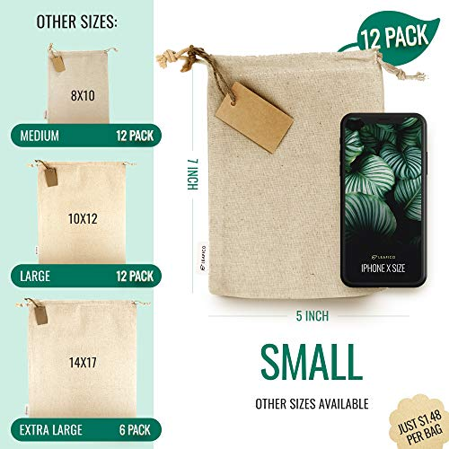 Organic Cotton Reusable Grocery Bags, Produce Bags, Small 5x7 inches, Travel Organizer Bag, Sachet bags, Home and Vegetable Storage, Canvas Tote, Christmas Gift Bags, Linen Bag, 12 count pack Leafico