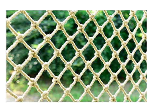 WML Hand-woven anti-aging hemp rope beige, children's safety net stair fall prevention net, cargo rope balcony railing protection net, decorative net Diameter 4mm
