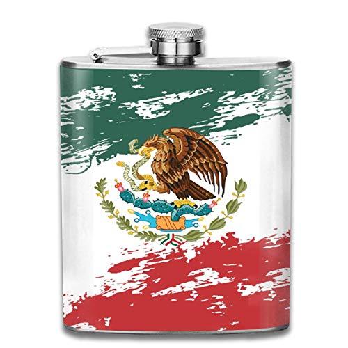 Flachmann mit mexikanischer Flagge für Likör, langlebiger Edelstahl-Flachmann mit U-förmigem Körper, 200 ml, rostfrei, auslaufsicher, für Reisen, Angeln, Picknick