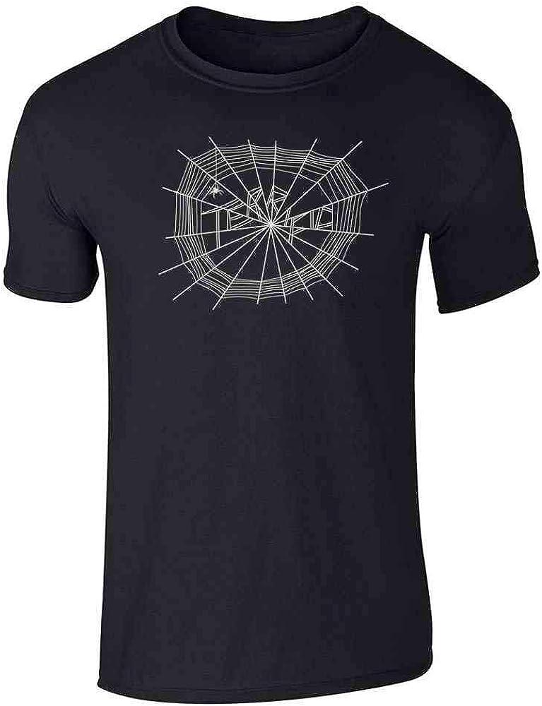 Pop Threads Terrific Spider Web Cute Graphic Tee T-Shirt for Men