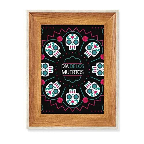 Marco de fotos de madera con diseño de calavera rosa feliz el día de los muertos