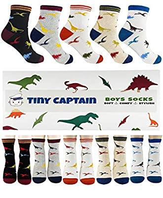 Boys Dinosaur Socks For 4-7 Year Old Best Gift For Age 5 Boy Sock From Tiny Captain