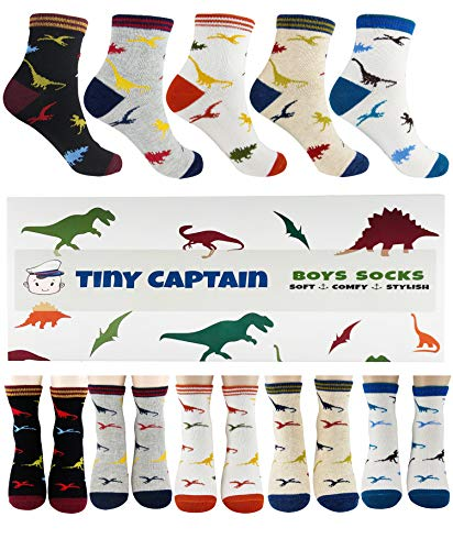 Boys Dinosaur Socks For 4-7 Year Old Best Gift For Age 5 Boy Sock From Tiny Captain