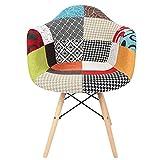 DSED Silla de Comedor, Arte de Tela, Estilo Rural, cojín de Esponja Colorido, sillas de Comedor, sillón para Sala de Estar en casa