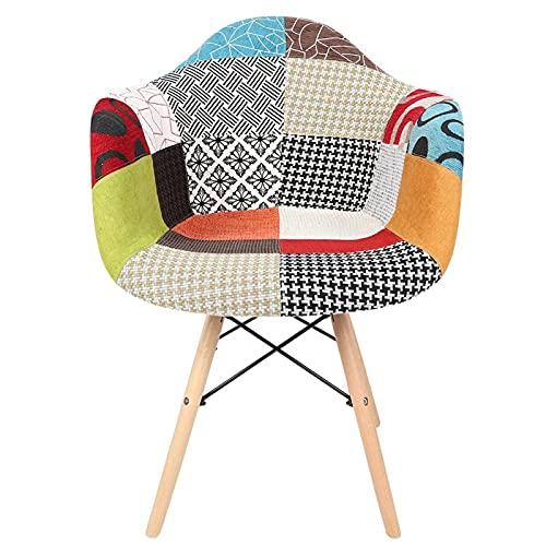 CjnJX-Vases Cloth Art, Estilo Rural, Colorido, con cojín de Esponja, sillas de Comedor, sillón con 4 Patas de Madera, Que se Puede Utilizar en el Comedor, la habitación de Invitados, la Sala de Estar