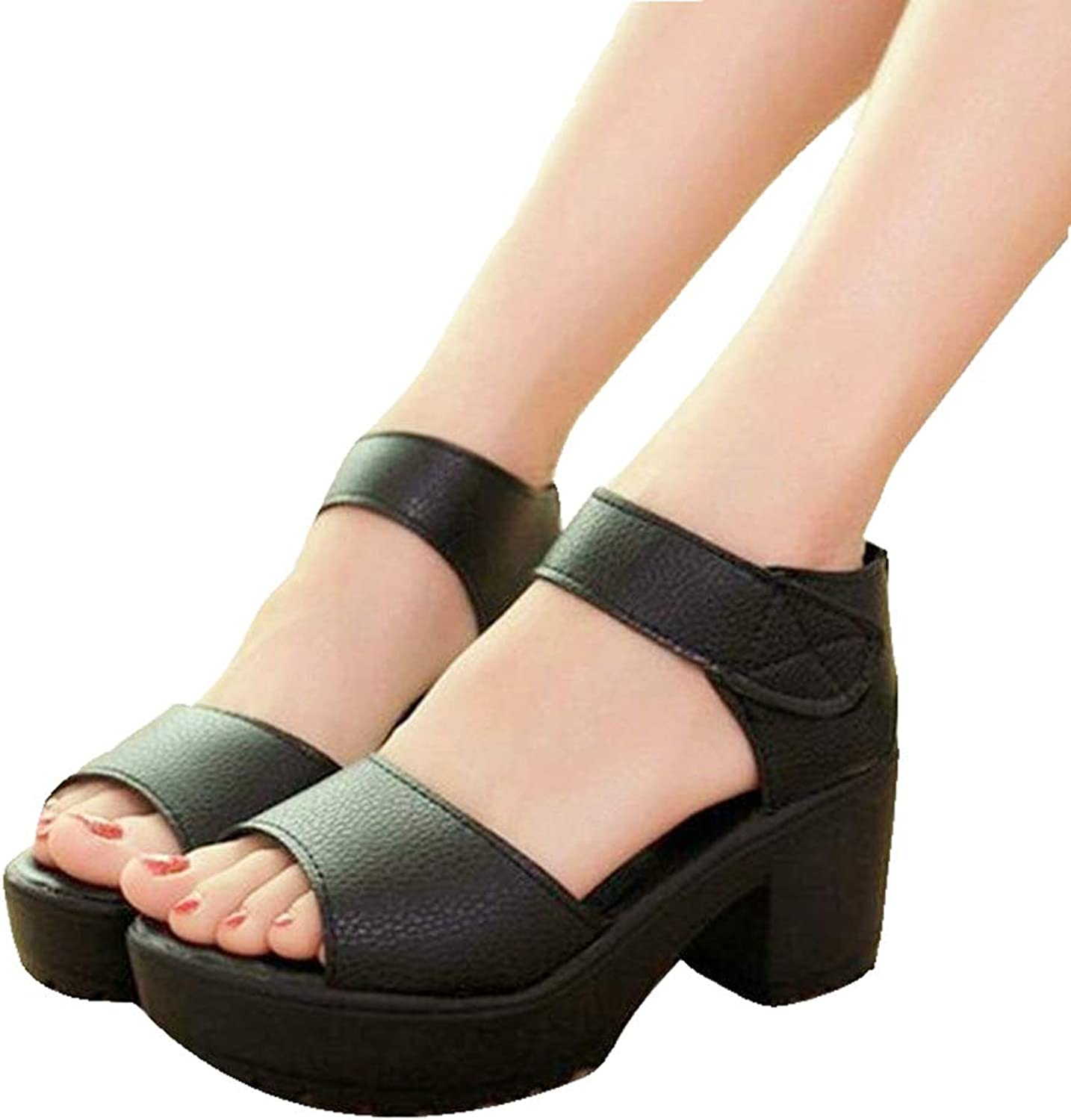 York Zhu Summer Wedge Sandals for Women Platform Strappy Sandal Mid Heels Casual shoes