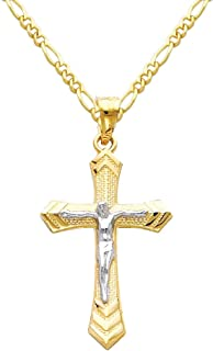 14k Two Tone Gold Jesus Cross Religious Pendant with 1.6mm Figaro Chain Necklace