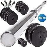 C.P. Sports - Juego de Pesas (30 mm, 68 kg, Barra Larga, 200 cm, Discos de plstico, 68 kg), 68 KG - Hantelset