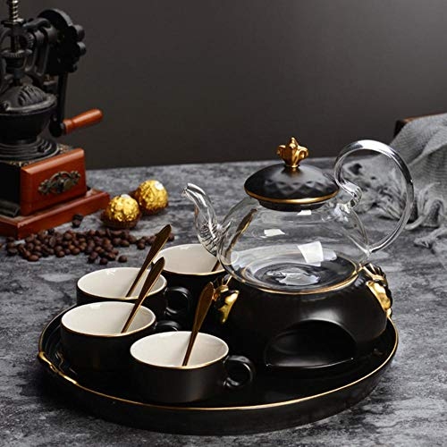 Nordic eenvoudige koffiekopjes set theepot set Engelse afternoon tea goud keramische verwarmde glazen bloem theepot met dienblad kaars, een pot (4 kopjes)