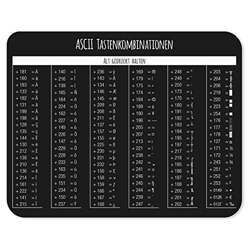 Mauspad mit ASCII Code Tabelle I Tastenkombinationen I 24 x 19 cm I Mousepad in Standargröße, rutschfest I Tastenkürzel Übersicht Shortcuts I dv_829