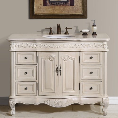 Silkroad Exclusive Countertop Marble Single Sink Bathroom Vanity with White Oak Finish Cabinet, 48'