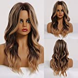 TINY LANA 20' Mixed Black and Brown wig Long Curly Synthetic Wigs for Women (2 Wig Caps Included)