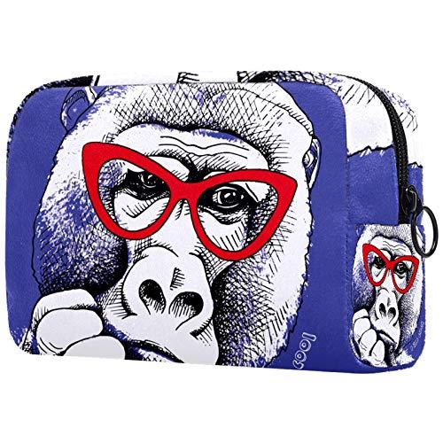 FURINKAZAN Orangutan - Bolsa de maquillaje con gafas rojas para hombre y mujer