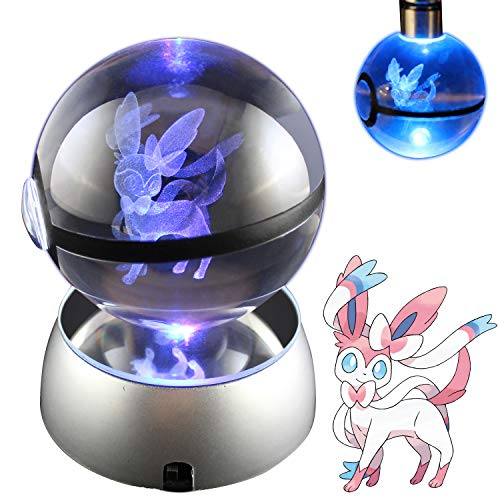 COOLINKO 3D Crystal Ball LED Night Light with LED Keychain Laser Engraving (Sylveon)