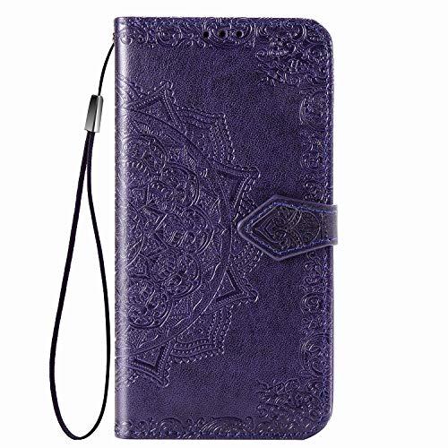 Fertuo Funda para Xiaomi Mi Note 10, Carcasa Libro con Tapa de Cuero Piel con Ranuras de Tarjeta, Soporte, Cierre Magnético [Dibujos de Mandala] Wallet Case Flip Cover para Mi Note 10, Púrpura