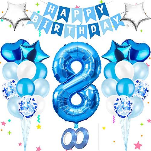 Luftballon 8,Happy Birthday Folienballon,Nummerndekoration,Blau Luftballons Metallic,Riesen Folienballon,Happy Birthday Folienballon,Happy Birthday Dekoration Zahl,Happy Birthday Dekoration