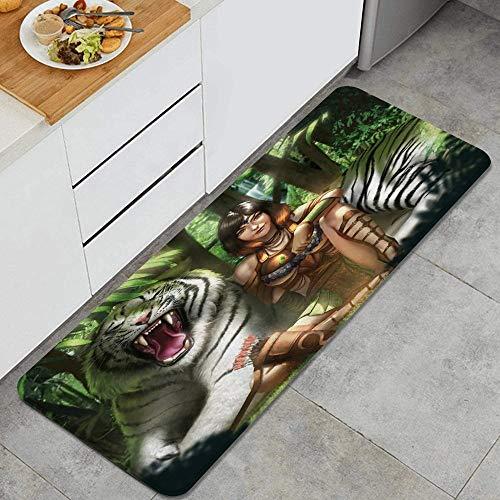 Alfombra de Cocina,Jungle Queen Mujer Sexy y Tigre Blanco en bos, Alfombra Antideslizante con Respaldo para Alfombra de Cocina, tapete, tapete, 47.2 x 17.7 Pulgadas