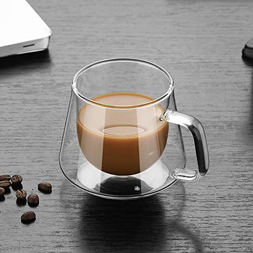 Cozyhoma 2er Set Kaffeetasse doppelwandig isolierte Glastasse, klare Teetassen, Latte Tassen, Biergläser, Kaffeetasse für Espresso, Latte, Cappuccino, Typea, 200 ml