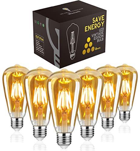 LED Edison Bulb, Woowtt Vintage Light Bulb, 6W E27 LED Bulbs, Led Filament Bulb, Antique Style Retro Amber Glass Screw Lamp, ST64, 2700K, 600LM, 6W - 6 Pack