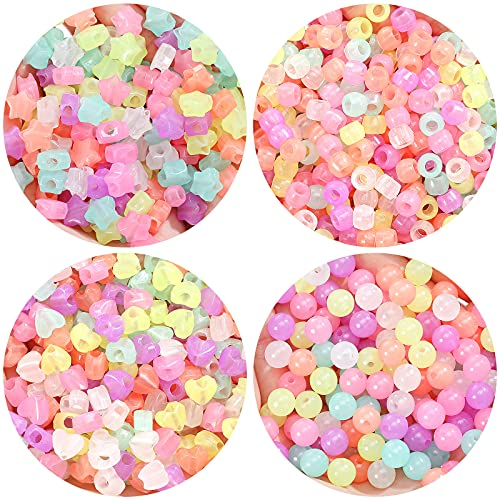 800 Pieces UV Beads Color Changing Reactive Pony Beads Heart Round Star Cylindrical Beads Hair Beads Glow in The Dark Acrylic Luminous Beads for Making Bracelets