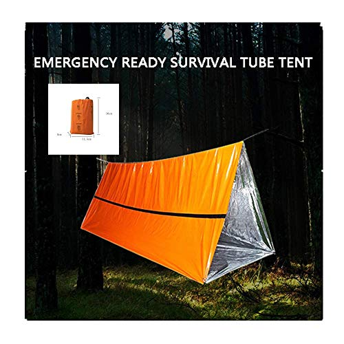 PE Emergency Shelter Survival Tent – 2-4 Person Emergency Tube Tent,Use As Survival Tent,Emergency Shelter,Survival Tarp,All Weather Protection for Outdoor,First Aid Kit,Hiking,Camping (orange)