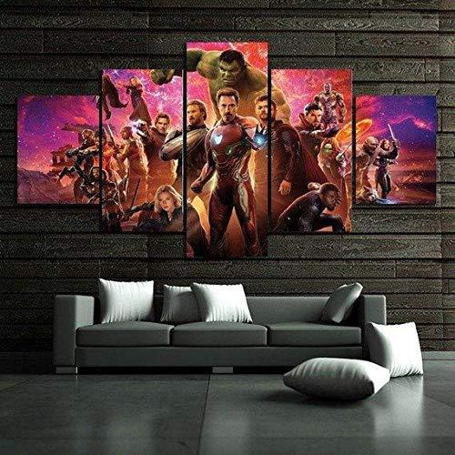 VYQDTNR Quadro su Tela Arte della Parete di Casa 5 Pezzi Avengers Infinity War Poster Stampe HD Immagini modulari per Soggiorno Quadro Decorativo- Incorniciato