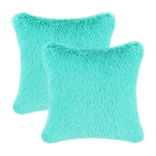 CaliTime Pack of 2 Super Soft Throw Pillow Covers Cases for Couch Sofa Bed Solid Plush Faux Fur 18 X 18 Inches Turquoise