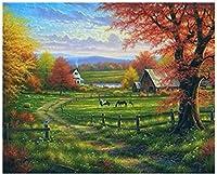 数字油絵 数字キット塗り絵 手塗り Diy絵 デジタル油絵グラスファームの風景-フレームレス 40* 50 Cm