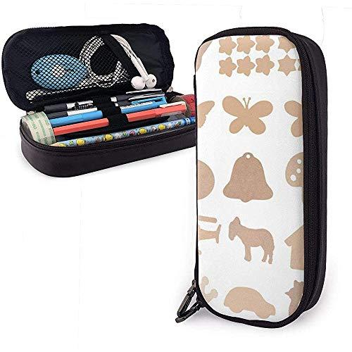 Federmäppchen aus Holz Handwerk Clipart PU Leder Tasche Aufbewahrungstaschen tragbare Bleistift Tasche Reißverschluss Geldbörsen
