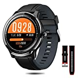 NACATIN Montre Connectée, Bracelet Connecté Bluetooth Smartwatch IP68 Etanche Fitness Bluetooth 4.2 pour Le Sport Android iPhone iOS (Bleu et Rouge)