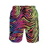 Hunihuni - Costume da Bagno da Uomo con Stampa zebrata Colorata e Coulisse, Fodera in Rete con Tasca Multicolore L