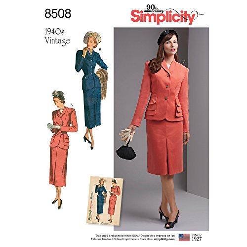 Simplicity motief 8508 AA (10–12–14–16–18) Misses '/dames vintage twee stuks pak met gevoerd, papier, wit, 22 x 15 x 1 cm