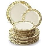 Silver Spoons Vajilla para Fiestas Desechable de 40 Piezas | 20 Platos Grandes | 20 Platos para Ensalada | Elegante Aspecto de Porcelana Fina | para Bodas Y Comidas de Lujo (Venetian Collection – Oro)