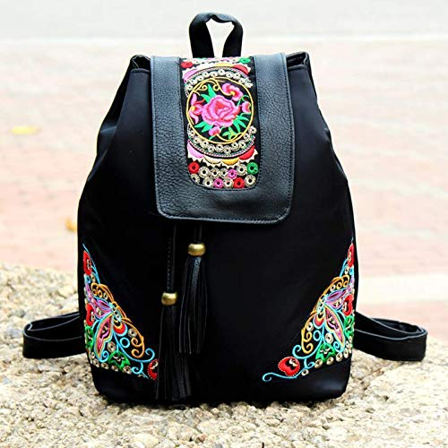 Ethnic Style Embroidered Women's Bag Oxford Cloth Backpack Bag Middleaged Mother Waterproof Nylon Cloth Travel Backpack