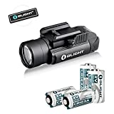 OLIGHT Bundle PL-2 Valkyrie, PL2, PL II Valkyrie 1200 Lumen Rail Mounted Compact Pistol Light with 2 x CR123A Batteries Handgun Weaponlight Flashligh Patch (PL-2 with CR123A)
