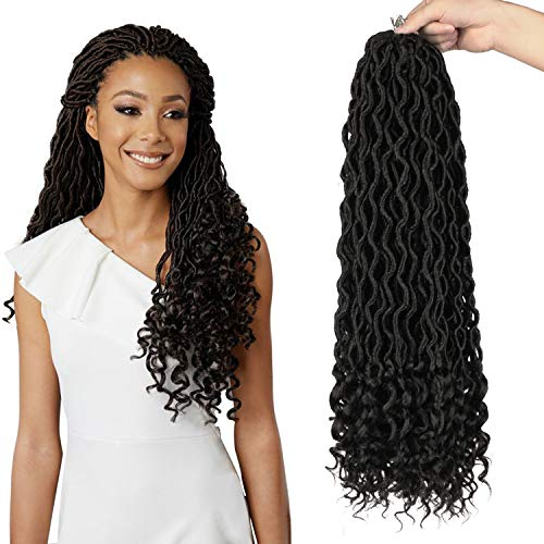 PEACOCO Faux Locs Crochet Hair, 6Pcs/Lot Goddess Locs Hair With Curly Ends 16 Inch Deep Wave Braiding Hair Synthetic Braiding Hair Extension (1B)