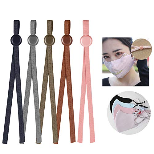 FaroDor 1/5 Inch Elastic Band for Masks, 100PCS Colored Elastic String for DIY Sewing with Adjustable Buckle,High Stretch Adjustable Mask Ear Loops