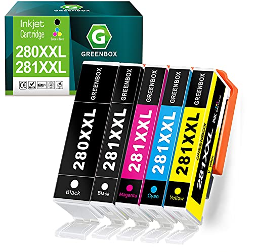 GREENBOX Compatible Ink Cartridges Replacement for Canon 280 281 PGI-280XXL CLI-281XXL PGI280 XXL CLI281XXL for Canon PIXMA TR7520 TR8520 TS6120 TS6220 TS8120 TS8220 TS9120 TS9520 TS6320 (5 Pack)