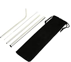 """Haihuic Set of 3 Stainless Steel Straws 21.5cm/8.5"""" Metal Drinking Straw with Cleaning Brush for 30oz 20oz Tumblers, Yeti Rambler RTIC Ozark Trail, Silver"""