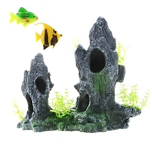 Saim Aquarium Mountain View Ornament Resin Rockery Hiding Cave Tree Fish Tank Decor with 2 Artificial Fish Decoration