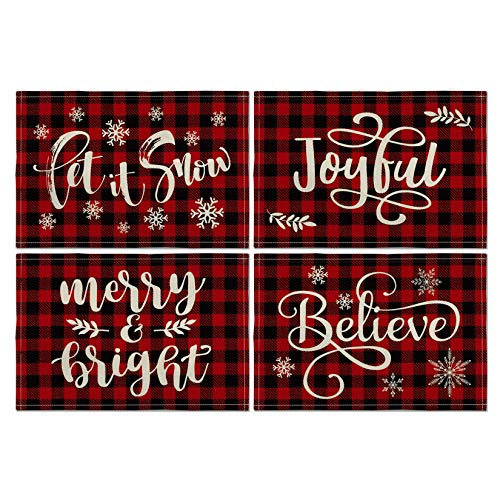Artoid Mode Christmas Saying Buffalo Check Plaid Placemat for Dining Table, 12 x 18 Inch Winter Holiday Rustic Washable Table Mat Set of 4