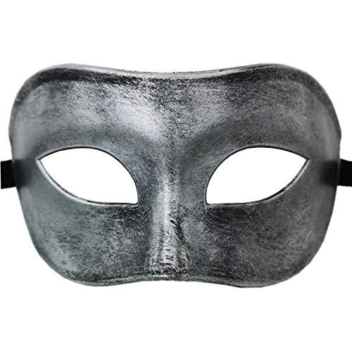 Masquerade Mask for Venetian Men Costume Mask/Party/Ball Prom/Halloween/Mardi Gras/Wedding(Silver Half Face)