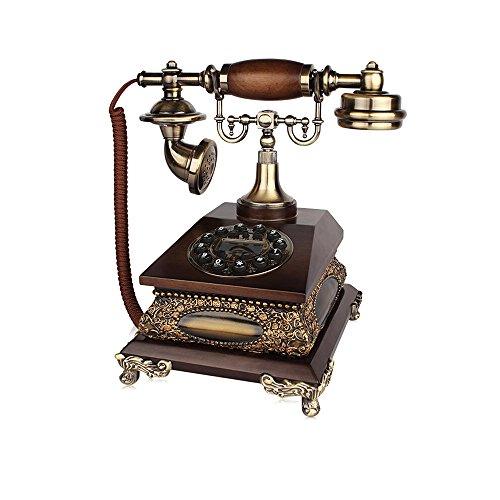 YSNUK Teléfono Fijo Teléfono Europeo Teléfono Retro Domicilio Fijo Línea de marcación de Prensa + Anillo Doble mecánico y electrónico (línea de Llamada) Teléfono rotatorio (Color : A)