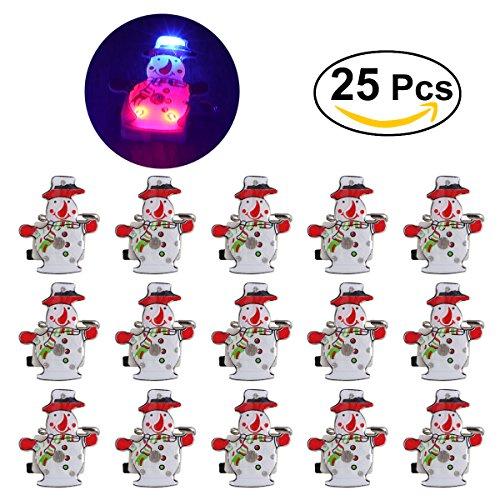 Tinksky Brooch del distintivo del pupazzo di neve di Natale con la luce del LED per i bambini Regalo 25Pcs