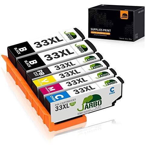 JARBO 33 XL Remplacer pour Epson 33XL Cartouche d'encre Compatible avec Epson Expression Premium XP-530 XP-540 XP-630 XP-635 XP-640 XP-645 XP-830 XP-900 (2 Noir,1 Photo Noir,1 Cyan,1 Magenta,1 Jaune)