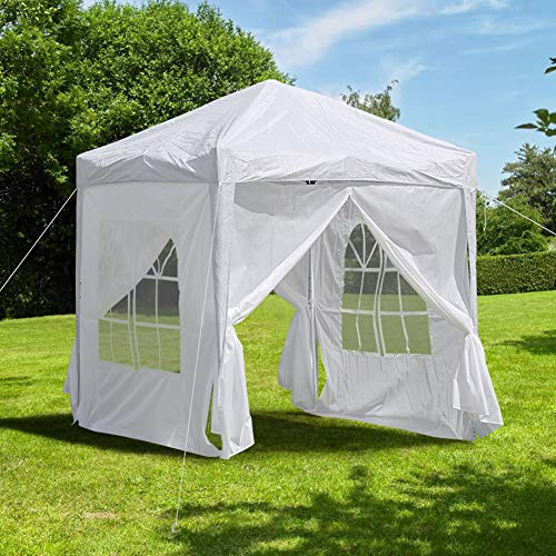 CLIPOP 2x2m Pop Up Gazebo Outdoor Waterproof Canopy Marquee Tent with 4 Side Panels and Carry Bag, Heavy Duty Instant Shelter Gazebo for Wedding Outdoor Camping Beach